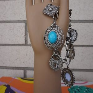 Anthropologie multi blue stone bracelet